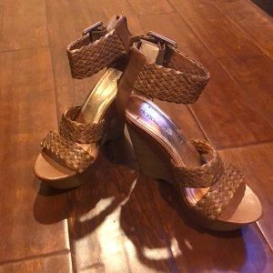 BCBGeneration Brown Weave Wedges